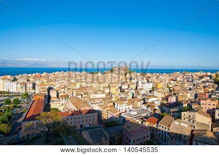 CORFU-AUGUST 22: Panoramic view of Corfu city and the Albanian coast on the background seen the New Fortress on August 22 2014 on Corfu island Greece.