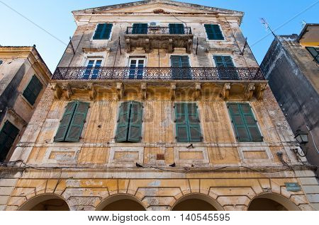 Facade of the typical Venetian building in Kerkyra city on the island of Corfu Greece.
