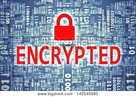 Encrypted word on binary code background. Security concept.