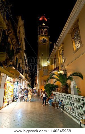 CORFU-AUGUST 27: The Saint Spyridon Church at night on August 272014 on island of Corfu Greece. The Saint Spyridon Church is a Greek Orthodox church located in Corfu Greece.