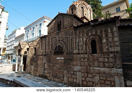 ATHENS-AUGUST 22:The Church of Panaghia Kapnikarea on August 222014 in Athens Greece. The Church of Panaghia Kapnikarea is a Greek Orthodox church and one of the oldest churches in Athens.