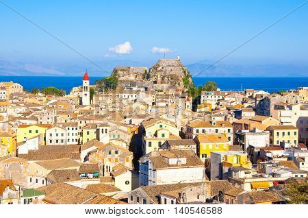 CORFU-AUGUST 22:Corfu cityscape with the Saint Spyridon Church bell tower in the distance seen from the New Fortress on August 22 2014 on Corfu island Greece.