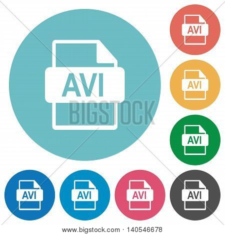 Flat AVI file format icon set on round color background.