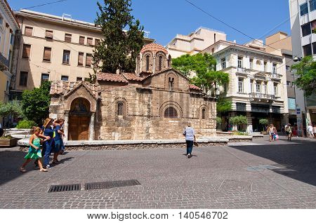 ATHENS-AUGUST 22: The Church of Panaghia Kapnikarea on Emrou street on August 222014 Athens Greece. The Church of Panaghia Kapnikarea is a Greek Orthodox church in Athens. Greece.