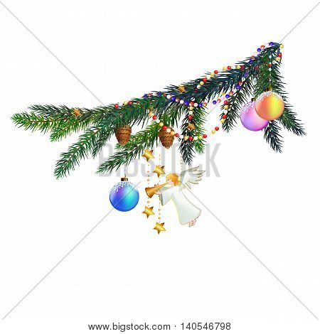 The pine branch with Christmas angel and cones. The branch is decorated with beads and Christmas balls.