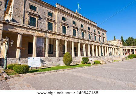 CORFU-AUGUST 22: Entrance to the Palace of St. Michael and St. George on August 22 2014 on Corfu island. Greece.