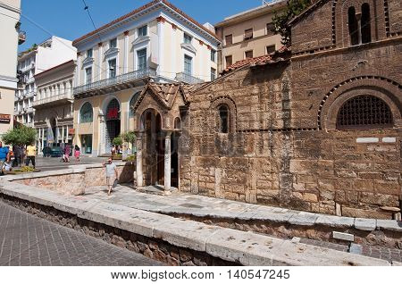 ATHENS-AUGUST 22: The Church of Panaghia Kapnikarea on August 222014 in Athens Greece. The Church of Panaghia Kapnikarea is a Greek Orthodox church in Athens.