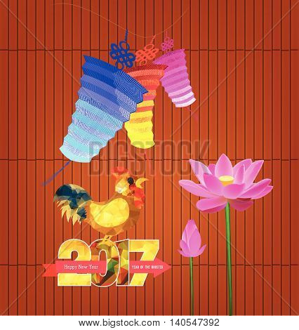 Chinese Lantern. happy new year  2017 with rooster