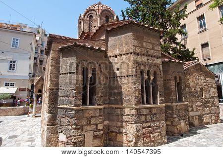ATHENS-AUGUST 22: Church of Panaghia Kapnikarea on Emrou street on August 222014 Athens Greece. The Church of Panaghia Kapnikarea is a Greek Orthodox church and one of the oldest churches in Athens.