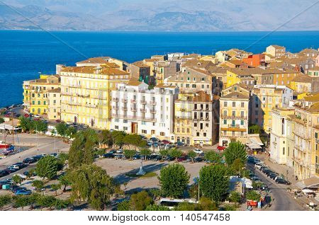 CORFU-AUGUST 22: Corfu cityscape with the Venetian quarter from the New Fortress on August 22 2014 on Corfu island Greece.