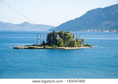 The islet of Pontikonisi. Corfu island Greece.