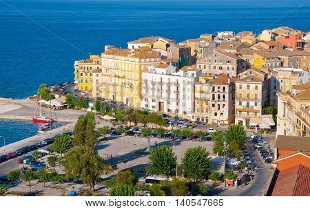 CORFU-AUGUST 22: Panoramic view of Corfu city with the Venetian quarter from the New Fortress on August 22 2014 on Corfu island Greece.