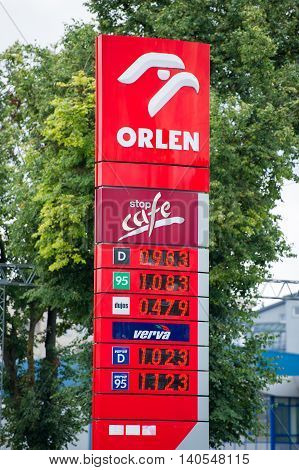 VILNIUS - JULY 30: Orlen petrol station on July 30, 2016 in Vilnius, Lithuania. PKN Orlen is a major Polish oil refiner, and petrol retailer. PKN Orlen headquarters in Plock, Poland.