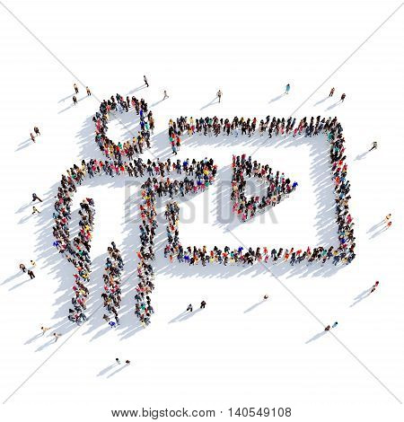 Large and creative group of people gathered together in the shape of a TV HD, cinema. 3D illustration, isolated against a white background. 3D-rendering.
