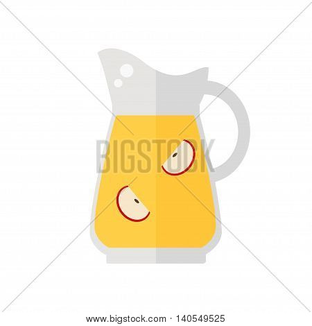 Juice jug icon. Apple juice isolated icon on white background. Healthy fresh drink. Flat style vector illustration.