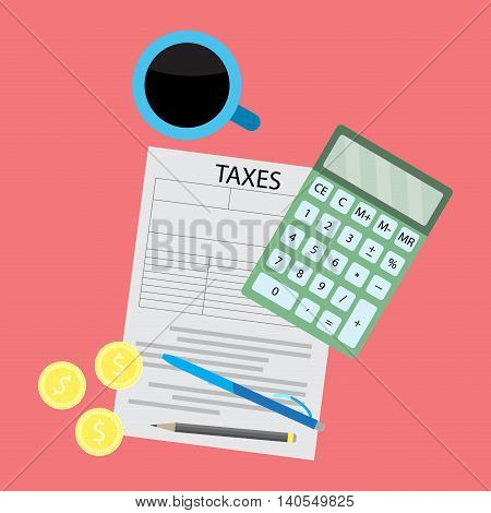 Tax day flat concept. Tax form with coffee and calculator. Vector illustration flat