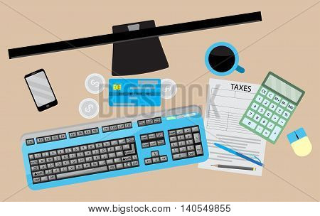 Counting taxes. Accountant workplace with money and tax form calculator and credit card. Vector illustration