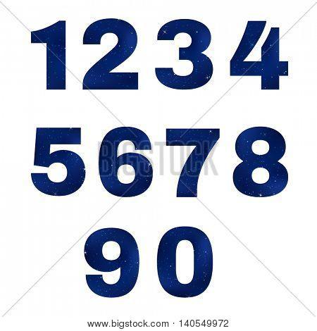 Numbers Dark Sky, With Gradient Mesh, Vector Illustration