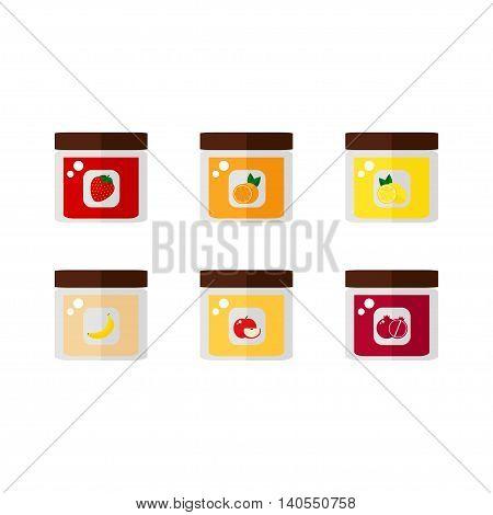 Jam isolated icons on white background. Jam jar. Flat style vector illustration.