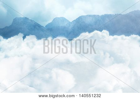 Beautiful scenic landscape with mountain ranges and clouds