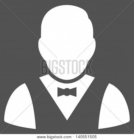 Waiter icon. Vector style is flat iconic symbol with rounded angles, white color, gray background.