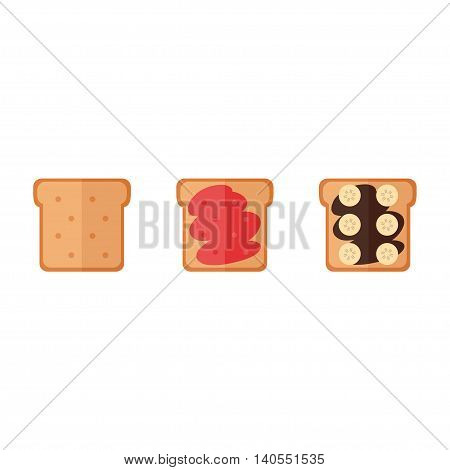 Toast bread isolated icons on white background. Toast bread sandwich with jam, chocolate cream, banana. Breakfast food. Flat style vector illustration.