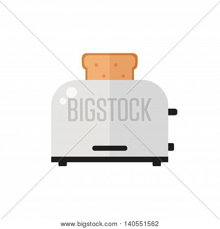Toaster isolated icon on white background. Toaster with toast bred. Food for breakfast. Flat style vector illustration.