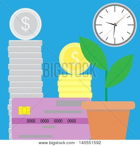 Capitalization of finance. Money and financial investment concept monetary welfare poverty and well being. Vector illustration