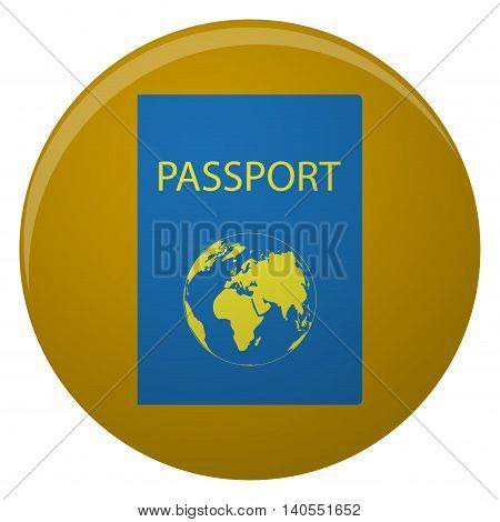 Passport icon with golden world map. Passport for travel and identity person legal document identification vector illustration