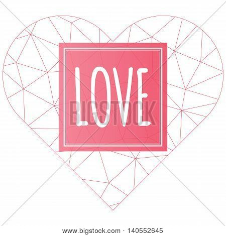 Love vector polygonal heart symbol isolated on white