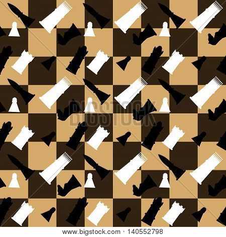 Pattern seamless chess boards and chess pieces. Challenge strategy game. Vector illustration