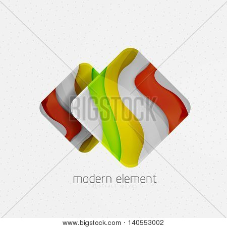 Abstract brand logo design on white. Square with bold relief texture effect, 3d imitation wave pattern with shadows