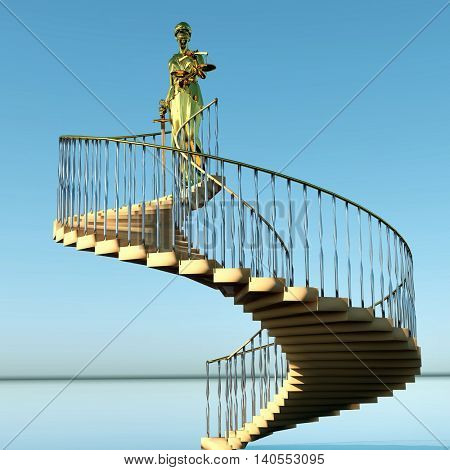 Steps to justice 3d rendering