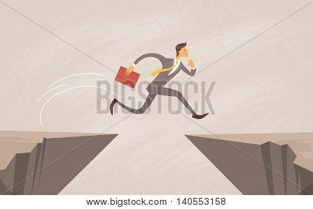 Businessman Jump Over Cliff Gap Mountain Flat Vector Illustration