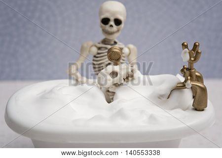 Skeleton giving bubble bath to his skeleton dog