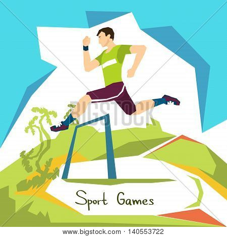 Hurdle Race Running Athlete Sport Competition Flat Vector Illustration