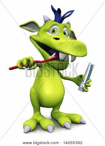 Cute Cartoon Monster Brushing His Teeth.