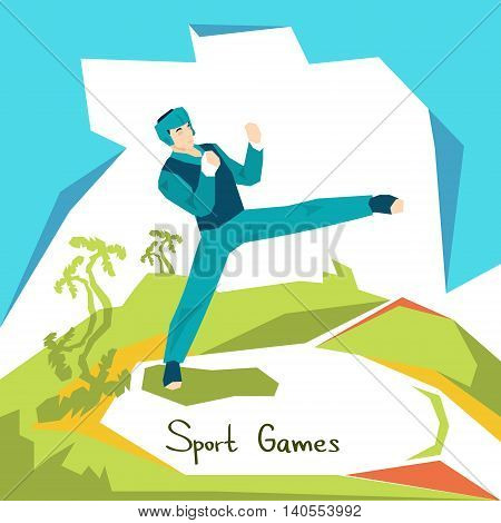 Taekwondo Athlete Sport Competition Flat Vector Illustration