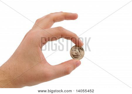 Hand Holding Gold Coin