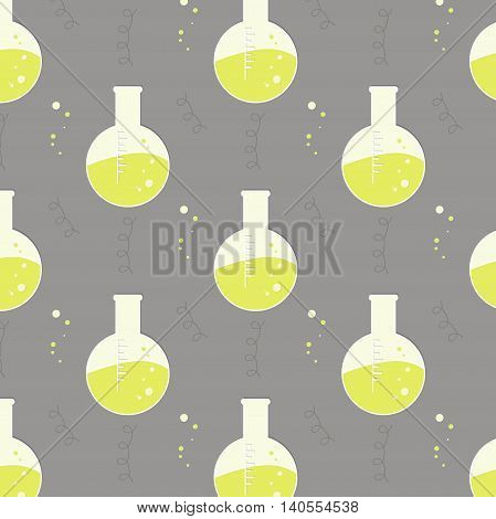 Vector test tube glassware. Chemistry pattern. Pharmacology background texture. Science print yellow