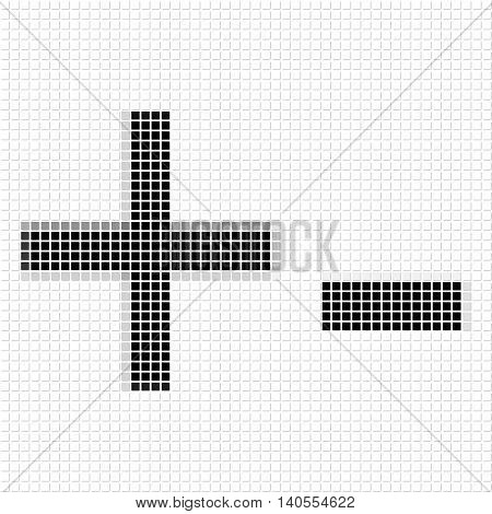 Plus, Minus. Simple Geometric Pattern Of Black Squares In Plus, Minus