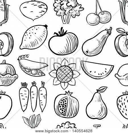 Cute vector black and white fruits and vegetables seamless pattern background in doodle children's style