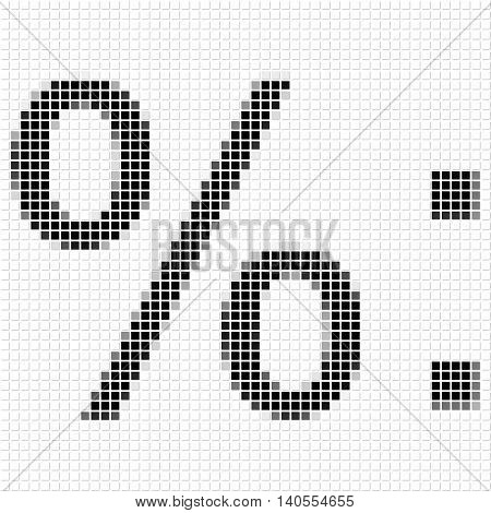 Percentage, Duble Dot. Simple Geometric Pattern Of Black Squares In Percentage, Duble Dot.