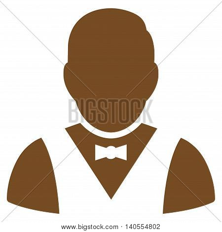 Waiter icon. Vector style is flat iconic symbol with rounded angles, brown color, white background.
