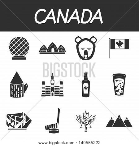 Canada icons set with map flag hockey lakes maple syrup tower and animals isolated vector illustration