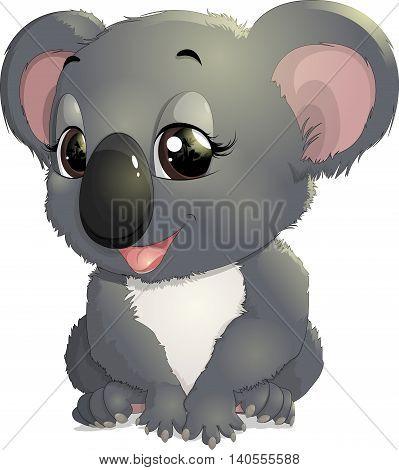 beautiful koala drawn on a white background