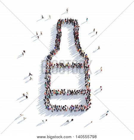 Large and creative group of people gathered together in the shape of a bottle of beer. 3D illustration, isolated against a white background. 3D-rendering.