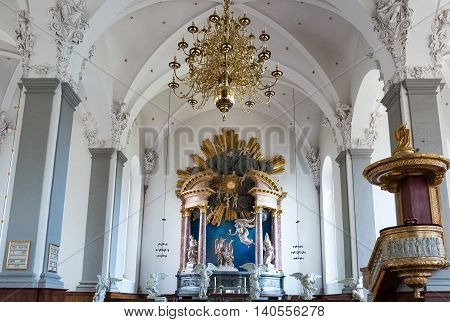 Copenhagen Denmark - July 22 2015: Visitors in the nave of the Our Saviour's church