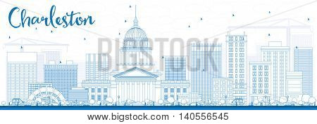 Outline Charleston Skyline with Blue Buildings. West Virginia. Vector Illustration. Business Travel and Tourism Concept with Modern Buildings. Image for Presentation Banner Placard and Web Site.
