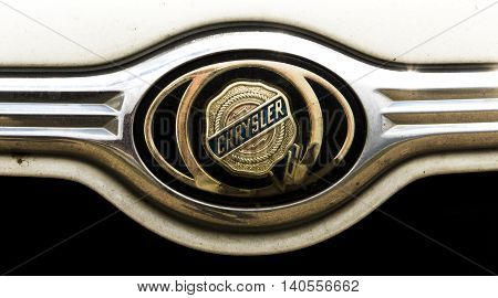Kazakhstan, Ust-Kamenogorsk, july 30, 2016: Chrysler - American automobile company. Nameplate of Chrysler, chrysler sign
